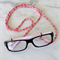 Eye Glasses Holder - WHITE×RED - HEMP / Japanese kimono cord / FREE SHIPPING