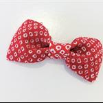 Bow hair clip - RED -KANOKO / Japanese crape / Kimono