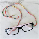 Eye Glasses Holder - PINK multi mix / KIMONO / Japanese chirimen cord /