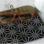 PADDED POUCH - NAVY - HEMP LEAVES / glasses case / FREE SHIPPING