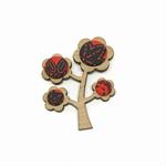 Kimono Tree Brooch - Blood Red Florals