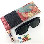 Handcrafted kimono fabric glasses / sunnies case with drawstring- indigo & pink