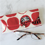 PADDED POUCH-WHITE×RED - DARUMA /glasses /sunnies /Xmas /teachers /gift