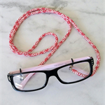 Eye Glasses Holder - WHITE×RED - HEMP / Japanese kimono cord / FREE SHIPPING