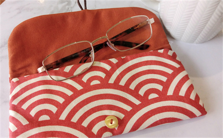 PADDED POUCH - ORANGE - WAVE / Glasses case / FREE SHIPPING