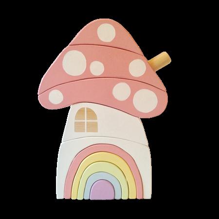 Hand painted Wooden PASTEL Toadstool House stacker with Rainbow Door.