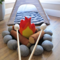 Felt Campfire Set with Marshmallows