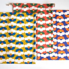 Library Bag/Lesson Bag/Double drawstring bag -Tsubaki Navy,Orange, Mustard