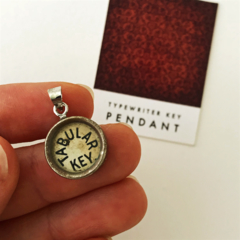Pendant created from a vintage typewriter key - Tabular, creamy ivory key
