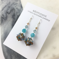 Faceted blue and brown crystal earrings with sterling silver earring hooks