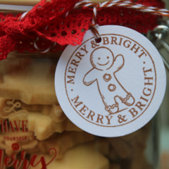 12 Gingerbread Man Gift Tags ~ Present Toppers ~ Tags for Treat Bags/Jars