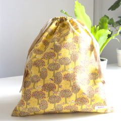 Library Bag/Lesson Bag/Double drawstring bag - Forest trees yellow