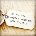 Dog Tag Keyring, Quote Keychain, Hand Stamped Keyring, Inspiration Keychain