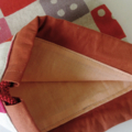 Drawstring Round Pouch - RED - DICE / linen