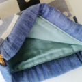 Drawstring Round Pouch - BLUE - DICE / linen / FREE SHIPPING