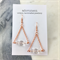 Crystal triangle geometric earrings with rose gold plated earring hooks