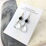 Faceted black and clear crystal earrings with sterling silver earring hooks