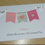 Personalised Girls Christening / baptism / Naming Day Card - Pink Bunting