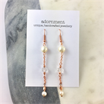 Freshwater pearl and crystal earrings with rose gold plated earring hooks