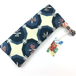 Handcrafted kimono fabric glasses / sunnies case with drawstring- blue & cream