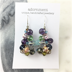 Faceted purple and green crystal earrings with sterling silver earring hooks