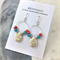 Coral, Turquoise, White Semi Precious Stone Earrings with Sterling Silver Hooks