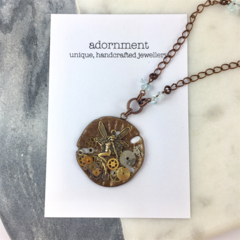 Steampunk Fairy Pendant on Long Copper Chain with Aquamarine Chips
