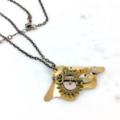 Steampunk Fan Pendant on Bronze Chain