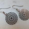 Stainless Steel Filigree Flower Web Pendants on Stainless Steel Earring Hooks or