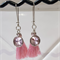 Pink Charm and Tassel Silver Earrings