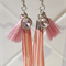Pink Long Tassel and Charm Silver Earrings