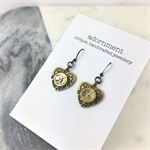 Steampunk Heart Earrings with Bronze Metal Earring Hooks
