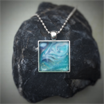Turquoise, Navy and White Resin Cabochon Pendant