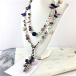 Amethyst, Howlite and Crystal Long Gemstone Necklace