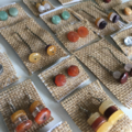 Clear Quartz Gemstone Crystal Stud Earrings