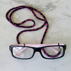 Eye Glasses Holder - SAKURA - NAVY×PINK /  Japanese kimono cord
