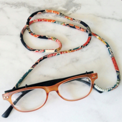 Eye Glasses Holder - BLACK multi mix / Japanese kimono cord / FREE SHIPPING