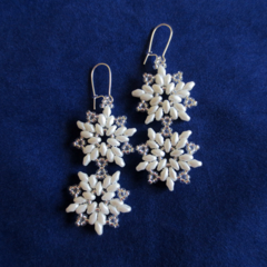 Double Drop Christmas Snowflake Earrings