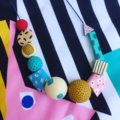 """Hand-painted """"Liquorice Allsorts""""  Wooden Necklace"""
