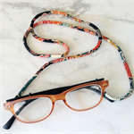 Eye Glasses Holder - BLACK multi mix / KIMONO / Japanese chirimen cord /