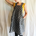 Japanese Wrap Apron,  Grey linen with white dots,   small 8-10