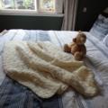 Hand knitted throw - cream