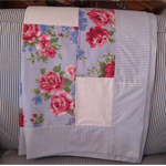 Blue and Fuchsia Pink Floral Patchwork Throw or Tablecloth