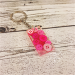 Resin Keyring - Pink Buttons - Bag Tag - Luggage Identifier - Rectangle
