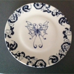 Hand painted butterfly on a Vera Wang Wedgwood plate