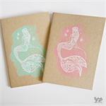 Boho Mermaid on a Rock Hand Stamped & Embossed Blank Page Journal Notebook