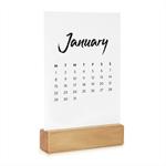 2018 Desk Calendar with Wooden Stand - Monthly Desktop Calendar - Monochrome