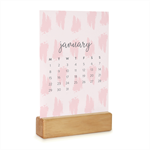 2018 Desk Calendar with Wooden Stand - Monthly Desktop Calendar - Lush