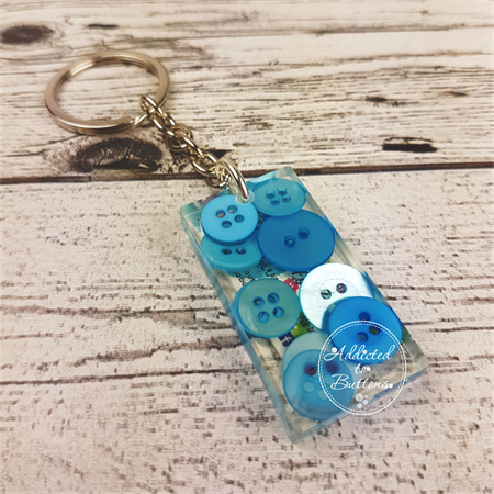 Resin Keyring - Blue Buttons - Bag Tag - Luggage Identifier - Rectangle