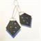 Black and electric blue leather hexie earrings